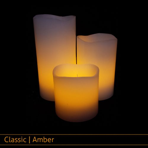 Small Wax Pillar Set Classic Amber