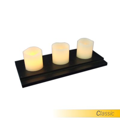 "SafeFlame™ LED Flameless Candles: 2"" Votive Set + Tray"