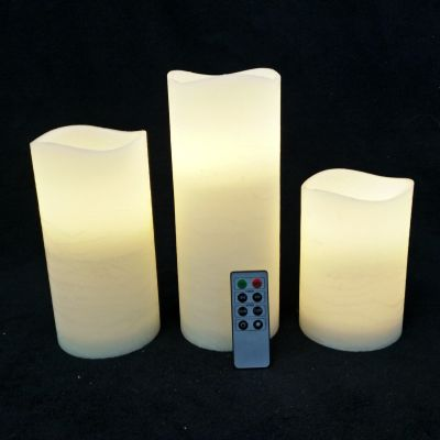 Large Wax Pillar Set Warm White