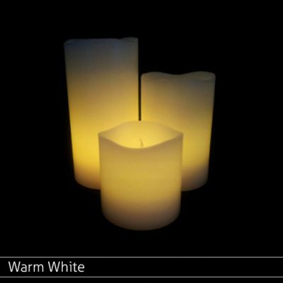 Small Wax Pillar Set Warm White